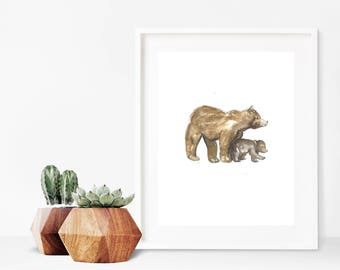 Watercolor Woodland Prints, Watercolor Bear Prints, Woodland Nursery Art, Gender Neutral Nursery, Digital Art, Woodland Birthday Decor