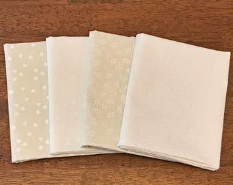 White Cream Fat Quarter Bundle - 4 Fat Quarters - Wilmington Cookie Dough Pre-Cut Fabric Bundle, Neutral Blender Fabric Bundle
