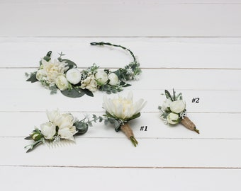 Ivory dahlia eucalyptus flower crown Bridal floral headband Wedding accessories  Floral comb Boutonniere Hair flowers Bridesmaid crown