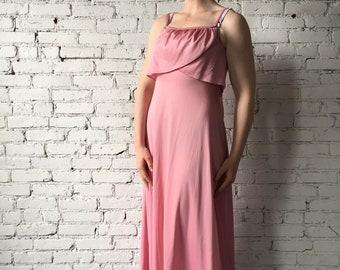 1970's Vintage Pink Formal Maxi Dress
