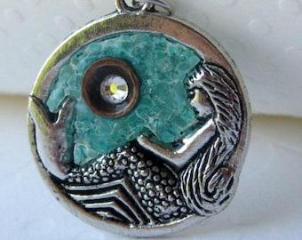 Glass Mermaid, Mermaid Necklace, December Birthstone, Mermaid Jewelry, Blue Mermaid