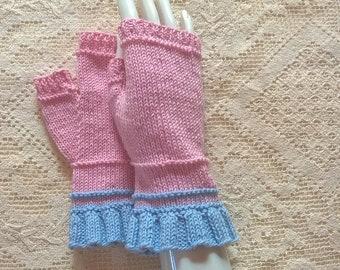 Handknitted bamboo-woollen fingerless gloves wrist warmers size M