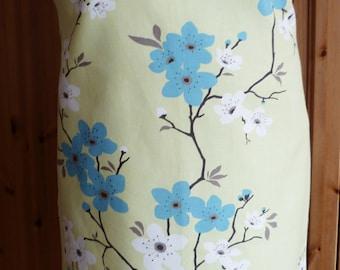 Full length apron - turquoise blossoms print