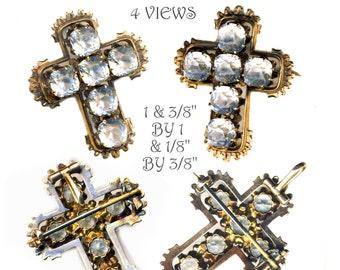 Pendant or Brooch ~ Very Fine 19th C. Dazzling Brillliant Hand Cut Paste in 9 Karat Gold Cross