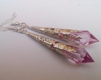 Pink Earrings , Silver Earrings , Pink Teardrop Earrings , Filigree Earrings , Filigree Earrings , Baby Pink Earrings , Handmade Jewelry