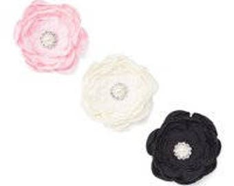 Large Pink, Ivory, and Black Rhinestone Chiffon Flower Hair Clips