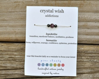 Addiction Wish Bracelet, Lepidolite, Hematite, Hemp, Meditation Bracelet, Minimalist, Intent Bracelet, Crystal Healing, Yoga, Stack
