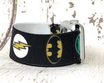 Apple Watch Band 42mm Apple Watch Strap 38mm iwatch band iwatch strap Justice League Flash Superman Batman Green Lantern Geek Gift for him