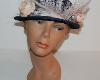Bergdorf Goodman Vintage 30s 40s Straw Hat Chas A Stevens Designer with Feathers Flowers