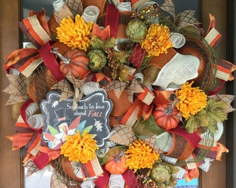Fall Holiday Wreath, Fall Burlap Wreath, Deco Mesh Wreath, Front Door Wreaths, Thanksgiving Wreaths, Holiday Wreaths, Fall Decor