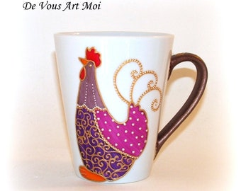 """Chicken mug, porcelain cup handpainted """"Hen"""" country collection"""