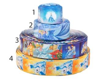 """Cinderella 1"""" 25mm Grosgrain Ribbon per meter select design"""
