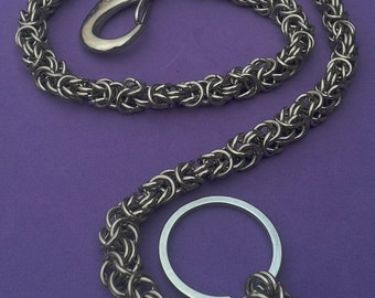 Stainless steel wallet chain: Byzantine Chainmaille, 24 inch chain.  Gift Boxed.