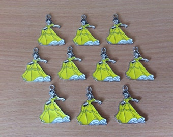 10 x belle metal enamel charms beauty and the beast