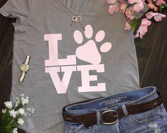 Love puppy paw womens T-shirt