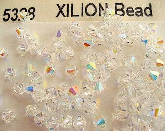 100 Clear Crystal AB Swarovski Crystals Bicone 5328 4mm