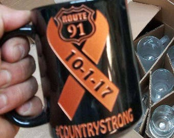 Orange route 91 ribbon 16 oz hand etched glass coffee mug