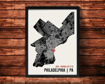 Philadelphia Wedding Map Art | Philadelphia Wedding Gift | Philadelphia Art Print | Philadelphia Poster | Philadelphia Map