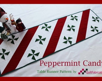Peppermint Candy, Table Runner, Christmas Runner, Quilt pattern, Instant Download, Red, Table Topper, Holiday Decor, Xmas Decor, Modern