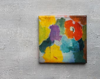 "Encaustic, shellac, flower, Abstract painting, 6x6x0,6"", office art, contemporary art, original painting, wall decor, Texture Painting, USA"