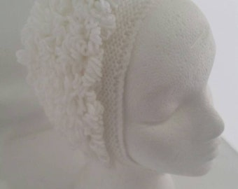vintage style loopy baby bonnet - white baby bonnet - seventies style