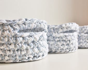 Crochet Basket Set, Storage Basket Set, Nesting Storage Baskets, Chunky Knit Basket, Bathroom Storage, Nursery Storage, Desk Accessories