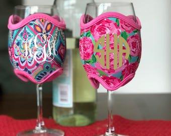 Personalized Monogrammed Neoprene Wine Glass Cozie