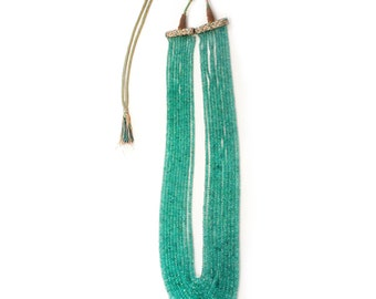 Columbian Emerald Bead Necklace Gold Beaded Multi Strand