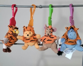 SALE WINNIE The Pooh KeyChain Soft Toy Clip On Plush McDonalds Happy Meal Toy Lot 2000 Owl Roo Eeyore Disney The Tigger Movie