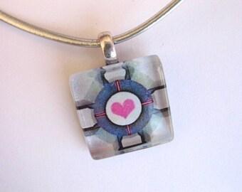 Companion Cube Glass Pendant Necklace, Portal Companion Cube, Portal, Portal 2, Pink Heart necklace, heart pendant, pink, gray, pink & grey