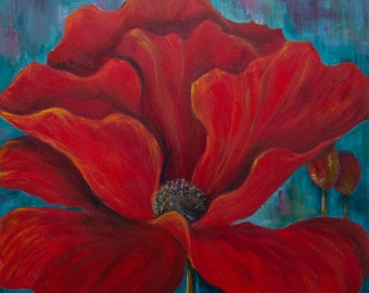 Poppy painting etsy poppy painting red floral art red and turquoise art poppy print flower art print large painting poppies turquoise teal dining living room mightylinksfo