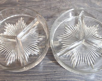 Vintage Mid Century Modern Sunburst Candy Dishes