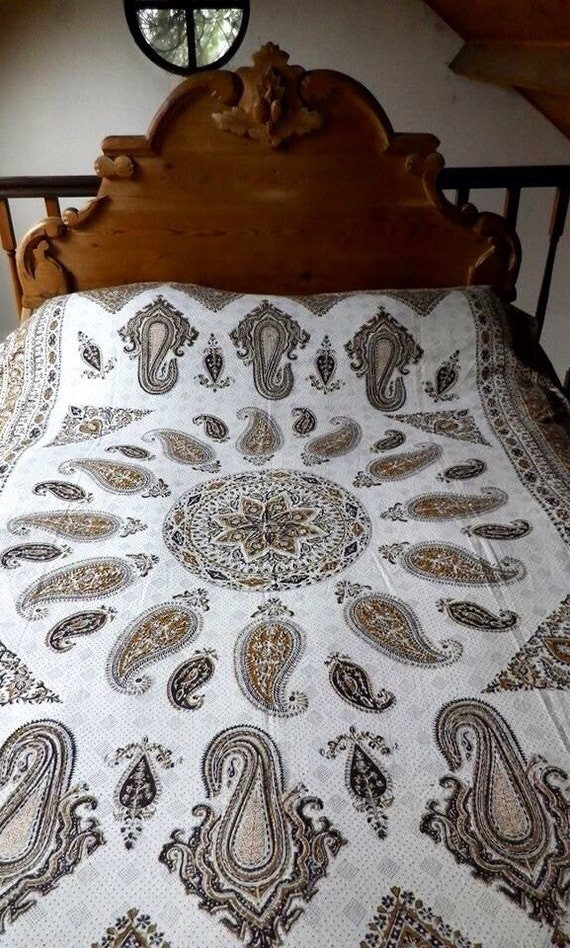 Hand block printed Brown mandala Tapestry art, tablecloth or bedspread with natural Dyes and tassels,middle eastern,
