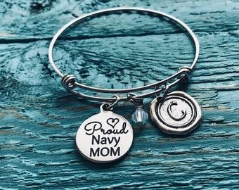 Proud Navy mom, Navy gifts, Army,  Daughter, Son, Sailor, Navy Mom, Deployment, Mom of Sailor, Gifts for, Silver Bracelet, Charm Bracelet