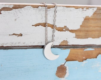 Tiny Moon Necklace, Moon Silver Necklace, Small Crescent Moon Grey