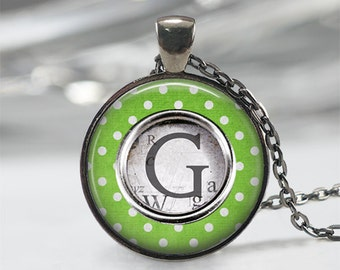 Gift For Her • Typewriter Key Necklace • Custom Letter Necklace • Initial Jewelry • Typewriter Jewelry•Personalized Gift•Lime Green Necklace