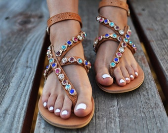 "Luxurious Sandals ""Lilac"", Handmade leather sandals, Greek sandals, bridal sandals, Chic sandals, Swarovski crystals, colorful crystals"