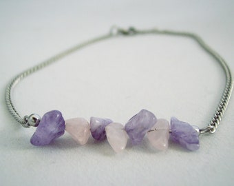 Natural Amethyst and Rose Quartz Chip Bar Stainless Steel Anklet Purple Anklet Pink Anklet  Non Tarnish Anklet Beach Anklet Body Jewelry