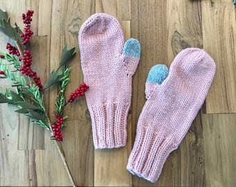 Classic Light Pink and Gray Mittens Stocking stuffer Christmas Gift Ready to Ship