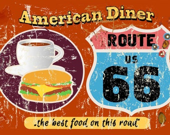 Amercan Diner Route 66 Metal Sign (A5) Size no 382