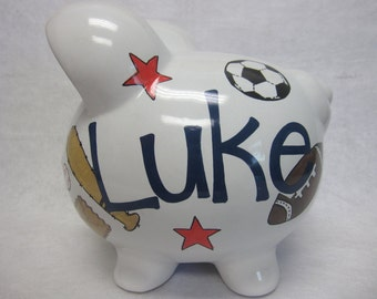 Personalized Piggy Bank Favorite Sports
