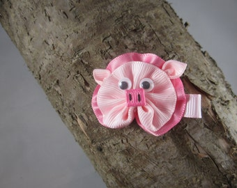 Piggy ribbon art hair clip
