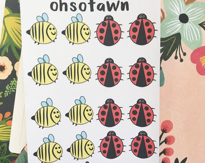 Hand Drawn Bees and Ladybug Stickers