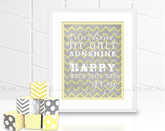 You Are My Sunshine Chevron Nursery Wall Art - Yellow - INSTANT DOWNLOAD