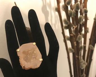 Agate Drusy Quartz Ring
