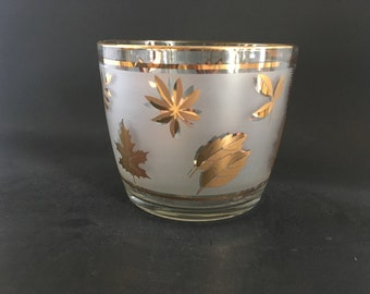 Vintage Rounded Golden Foliage Ice Bucket by Libbey Glass Company