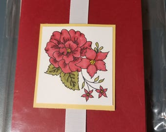 Floral, Hand-stamped, Hand-colored, Set of 5 Blank Note Cards
