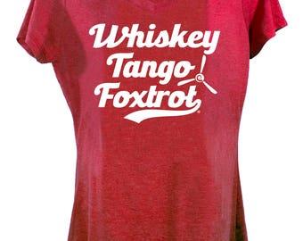 Women's 'Whiskey Tango Foxtrot' Shirt - Red Aviation T-Shirt by runway THREE-SIX