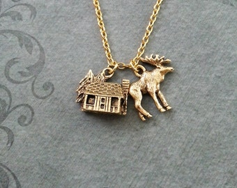 Cabin Necklace VERY SMALL Gold Cabin Charm Necklace Cabin Jewelry Hunting Gift Camping Gift Moose Necklace Moose Jewelry Hunting Necklace