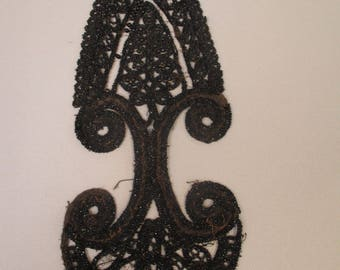 Antique Victorian Glass Jet Beaded Applique